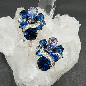 Vintage Sapphire Blue Rhinestone Clip Earrings